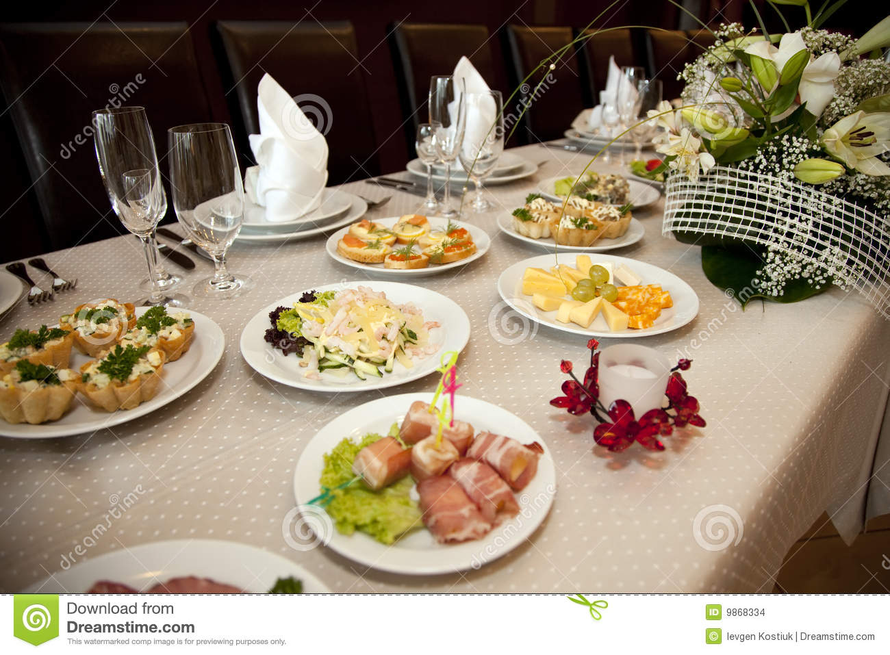 Food At Banquet Table Stock Images   Image  9868334