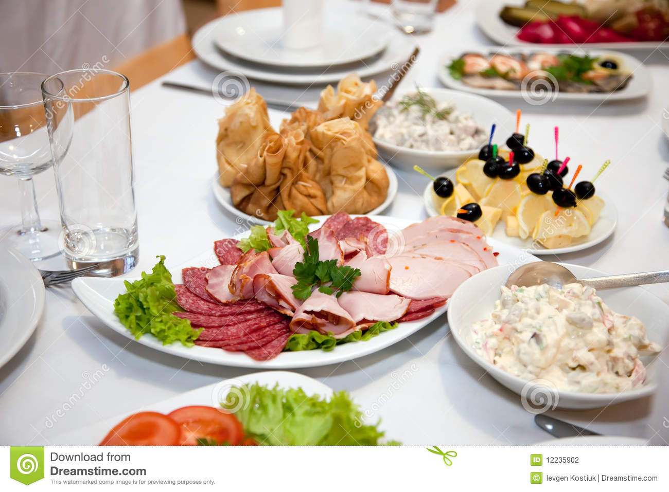 Food At Banquet Table Stock Photography   Image  12235902