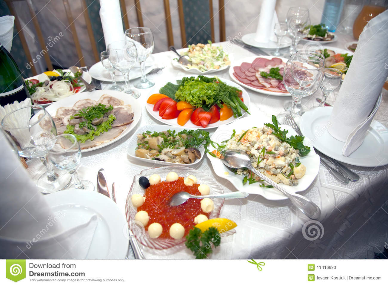 Food At Banquet Table Stock Photos   Image  11416693