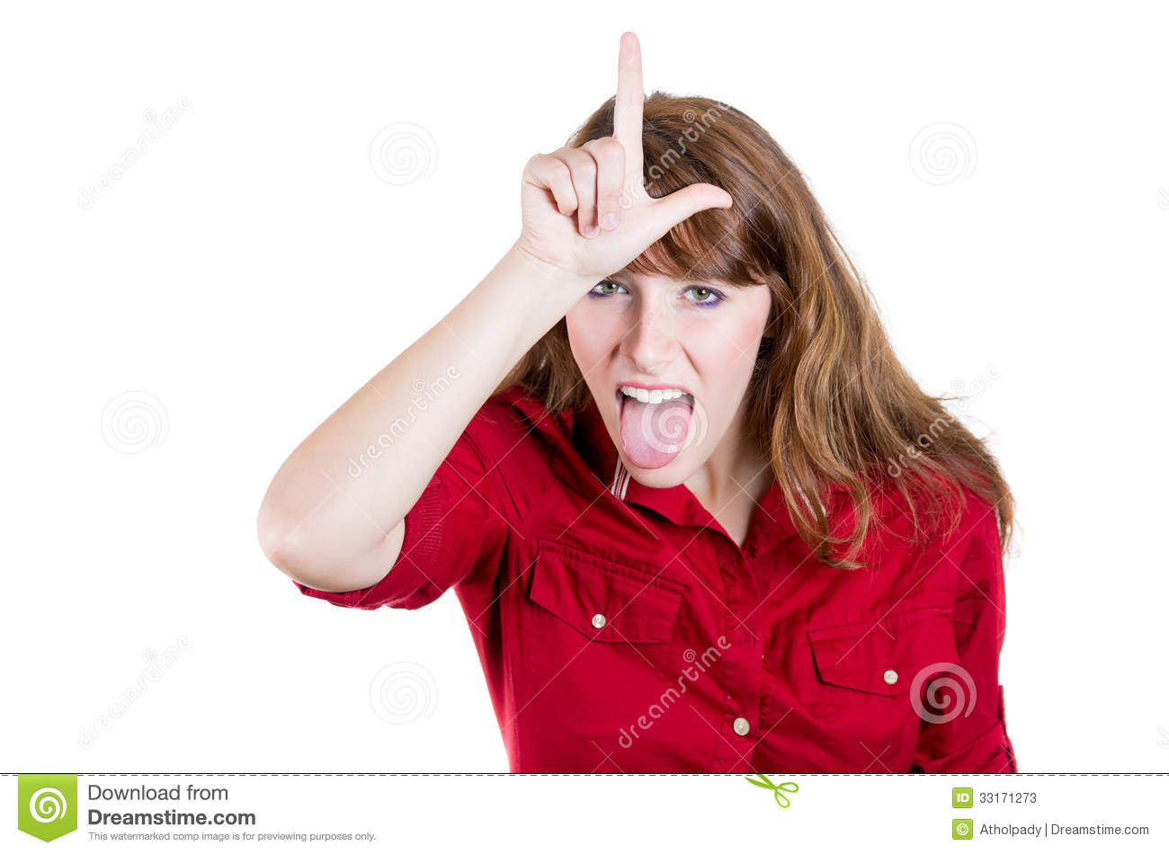 Funny Woman Displaying A Loser Sign On Her Forehead Stock Photos
