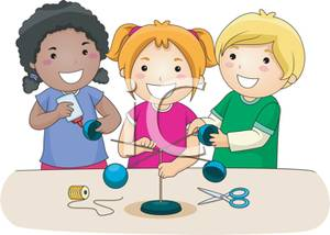 Kids Working On A Science Project   Royalty Free Clipart Picture