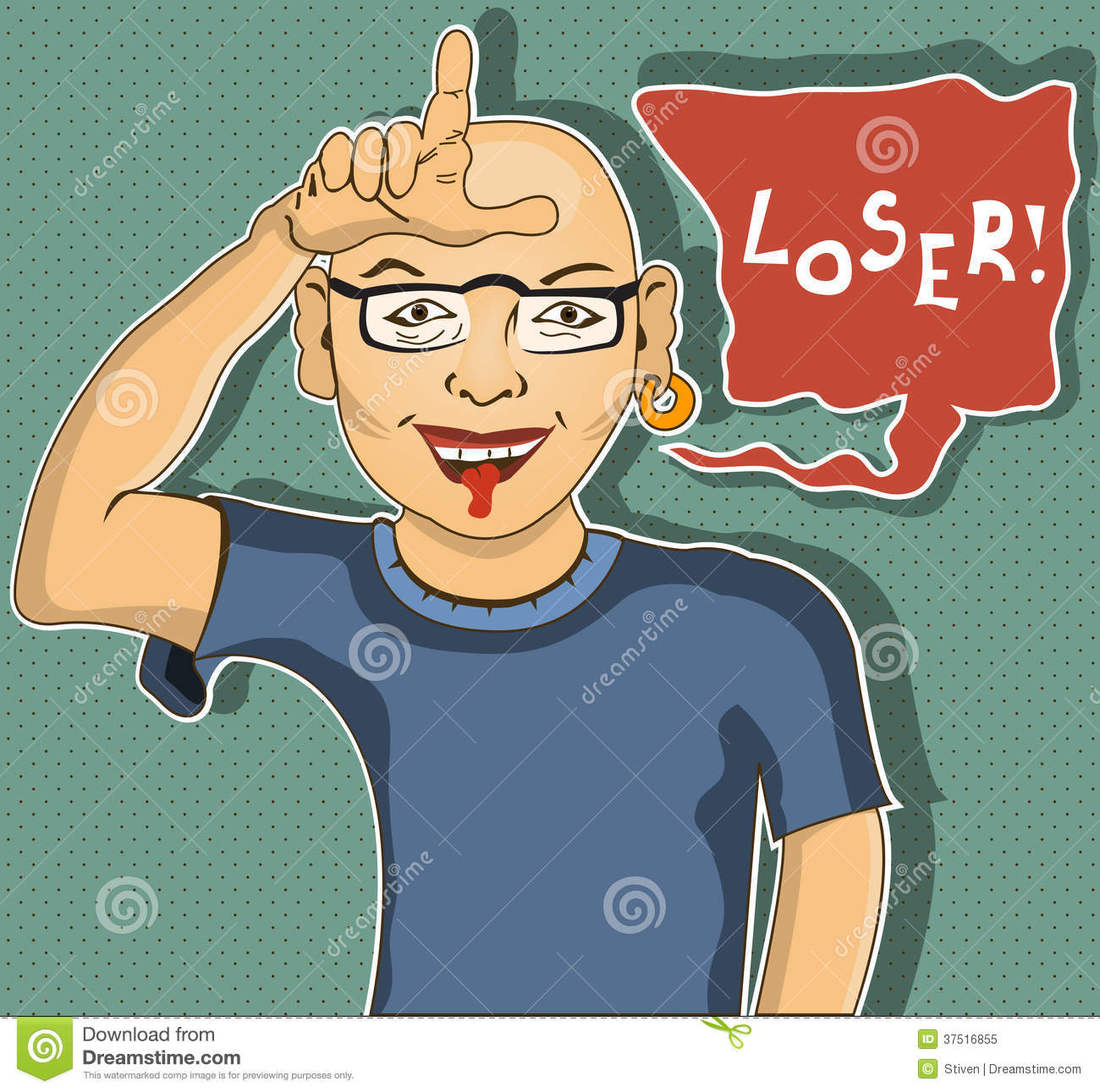 Man Is Showing Loser Hand Gesture   Cartoon Illustration