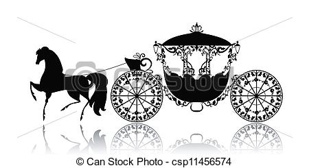 Of Vintage Silhouette Of A Horse Carriage Csp11456574   Search Clipart
