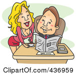 Royalty Free Rf Clipart Illustration Of A Sexy Secretary Leaning Over