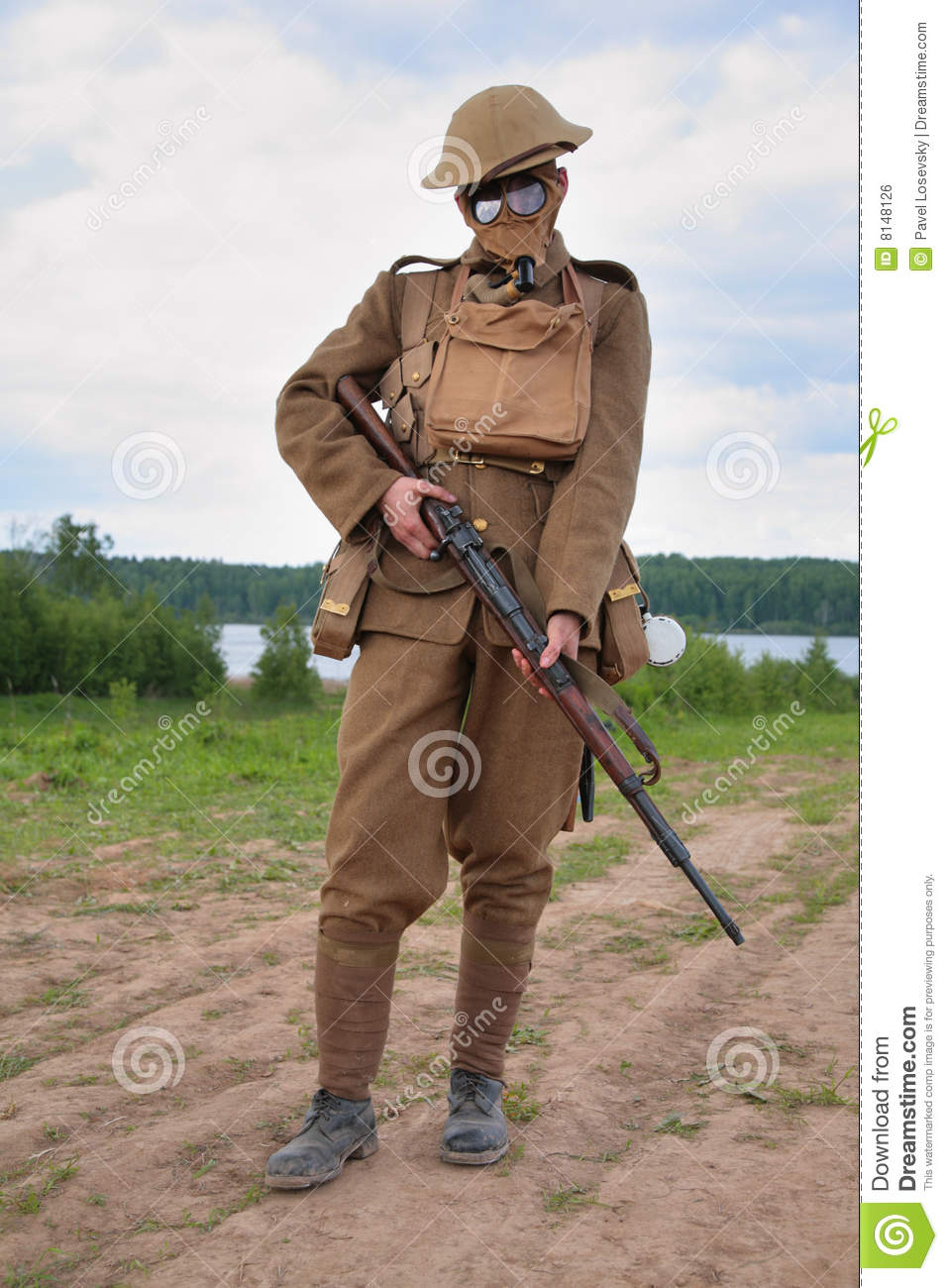Royalty Free Stock Image  Soldier Of Ww1 In A Gas Mask
