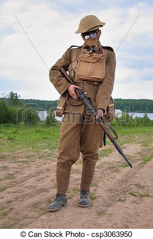 Stock Photo   Soldier Of Ww1 In A Gas Mask Hold A Rifle   Stock Image