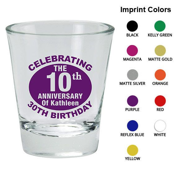 Birthday Shot Glasses  Clipart 19139  10th Anniversary Of 30th