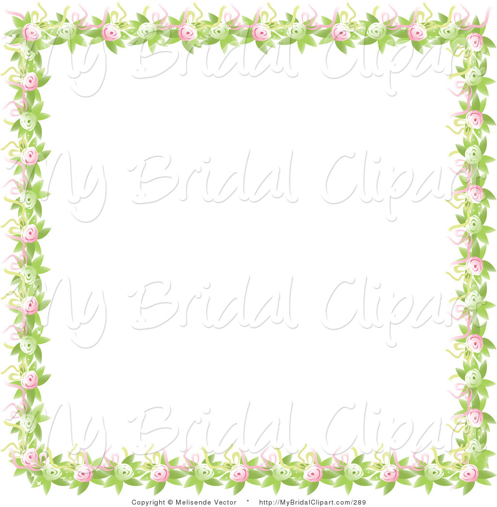 Bridal Clipart Of A Nature Border Of Green Leaves Pink And Green