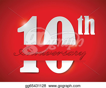 Clip Art   10th Anniversary Illustration Design Over A Red Background