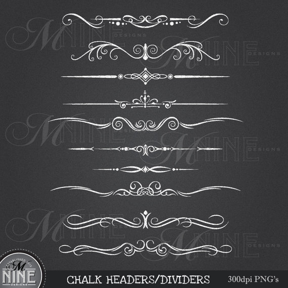 Clipart  Design Elements Instant Download Chalkboard Borders Accents