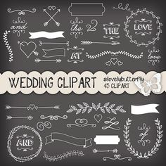 Clipart Wedding Invitation Vintage Clipart Chalkboard Clipart