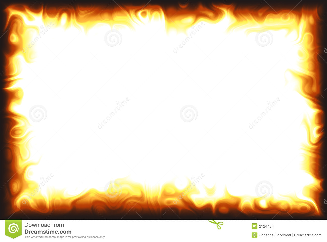 Computer Generated Flame Border Over White Background