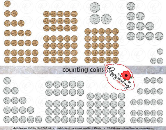 Counting Coins Money Clipart Set    300 Dpi  School Teacher Clip Art