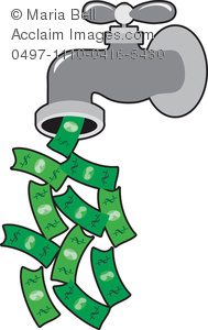Dollars Flowing Out Of The Water Faucet   Money Faucet Clipart Image