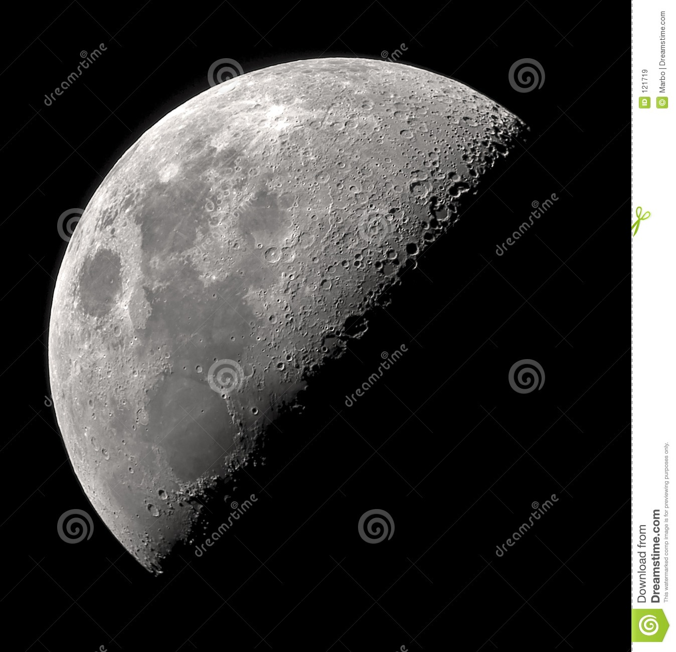 First Quarter Moon Clipart Telescopic View Of The 1st Quarter Moon