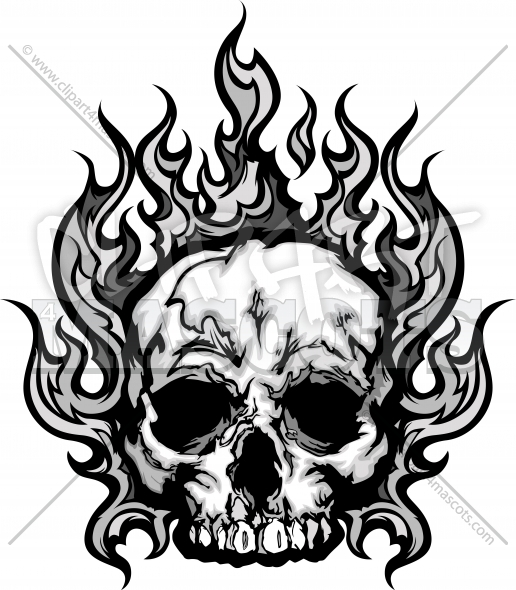Flaming Skull Tattoo Graphic Vector Halloween Clipart Image