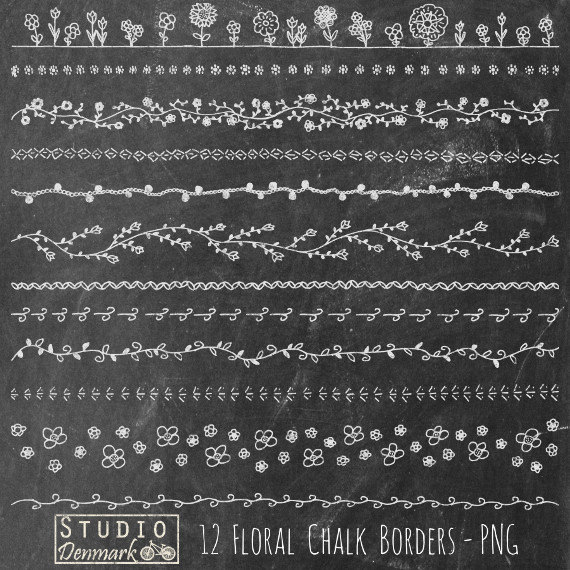 Floral Borders Chalkboard Clipart Set   Commercial Use   12 Hand