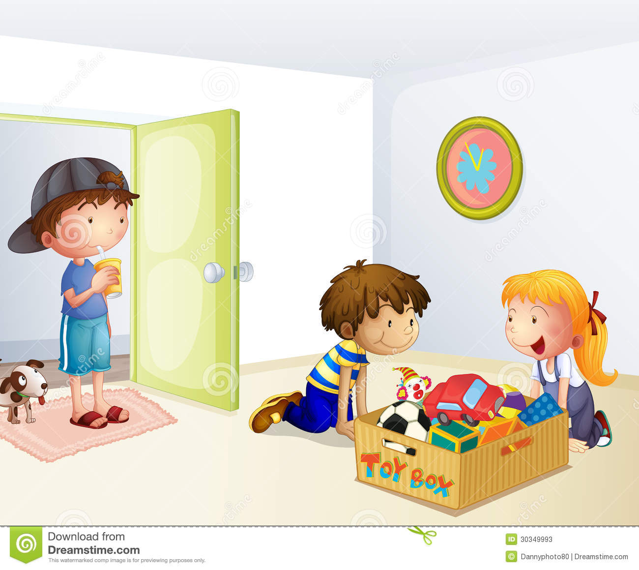 Inside The House With A Box Of Toys Stock Photos   Image  30349993