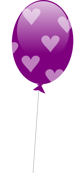 Purple Balloon With Hearts Clip Art At Clker Com   Vector Clip Art