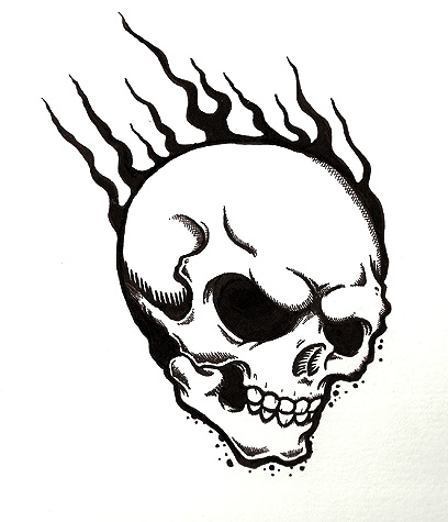 Skull With Flames Tattoo   Clipart Best