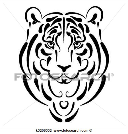 Tiger Stylized Silhouette Symbol 2010 Year View Large Clip Art