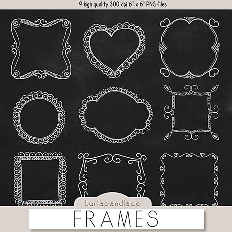 To Chalkboard Frames Clipart Hand Drawn Clipart Borders Chalkboard