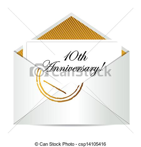 Vector Clip Art Of Happy 10th Anniversary Gold Mail Letter