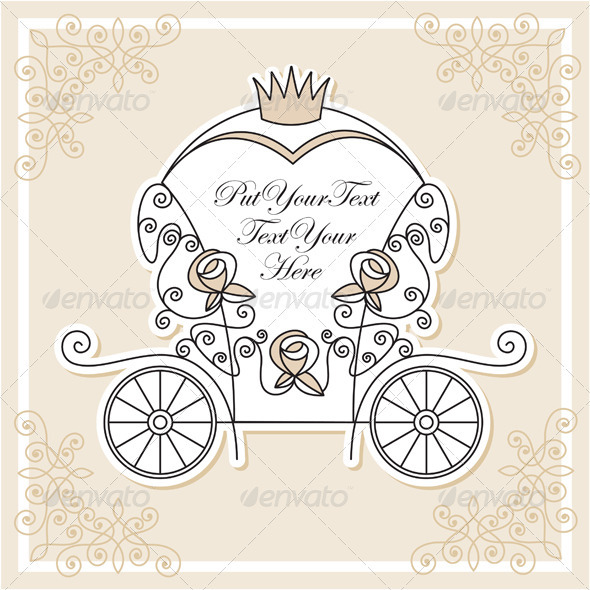 Vector Design With Wedding Carriage   Weddings Cards   Invites