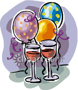 Balloons And Wine Glasses   Royalty Free Clipart Picture
