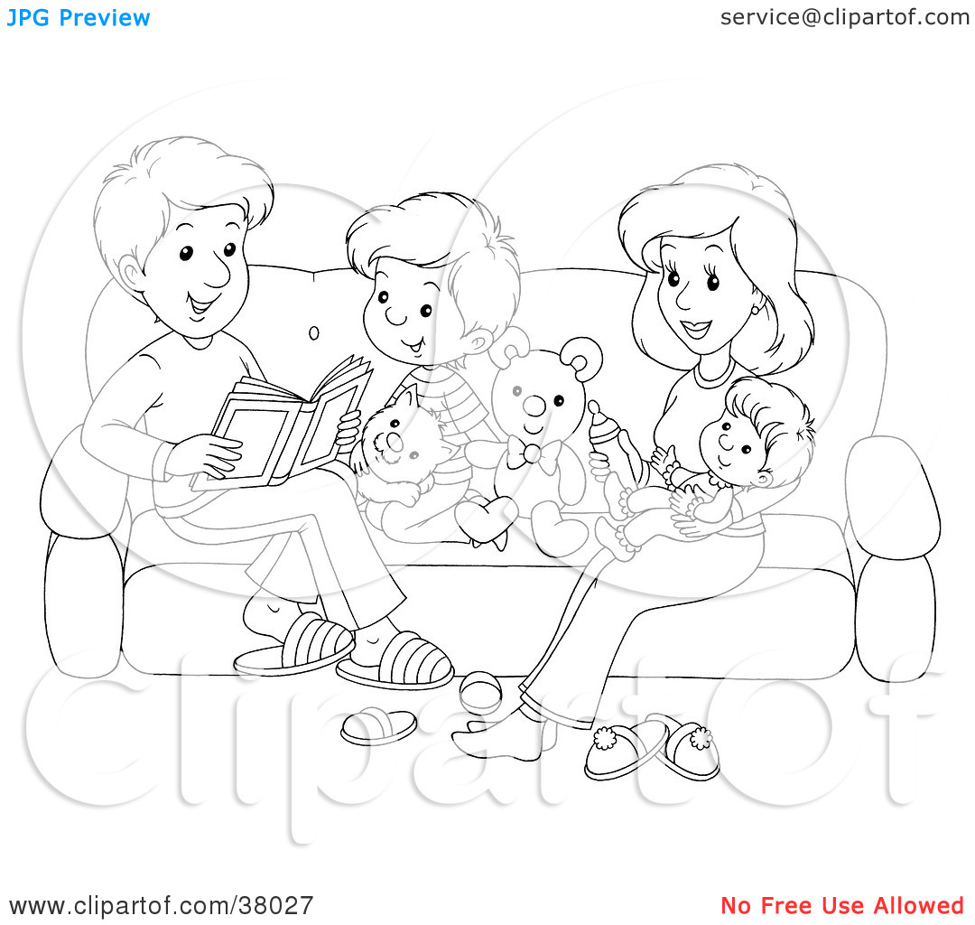 Clipart Illustration Of A Black And White Outline Of A Happy Family