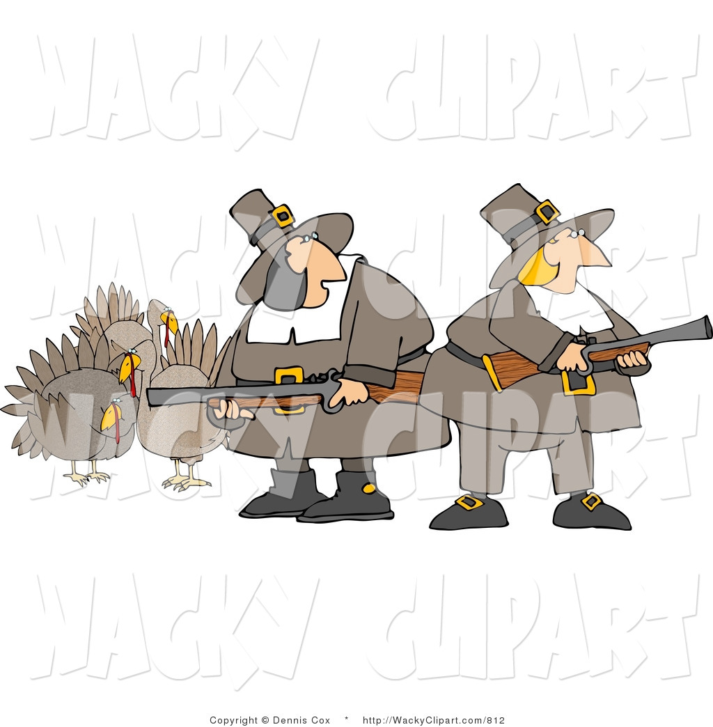 Clipart Of Two Silly Pilgrim Women Armed With Turkey Bird Hunting