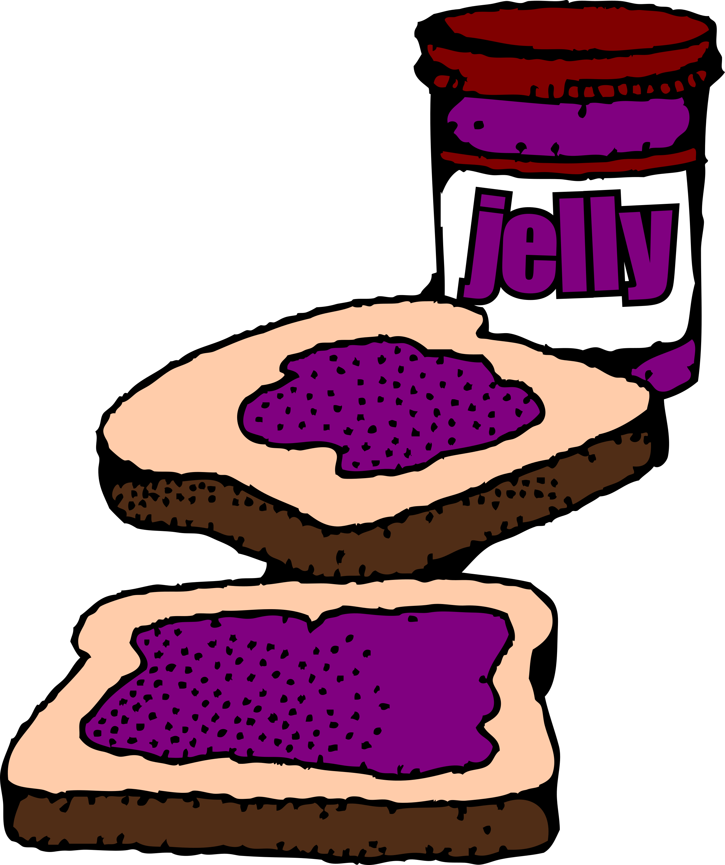 Colorized Peanut Butter And Jelly Sandwich By Snifty
