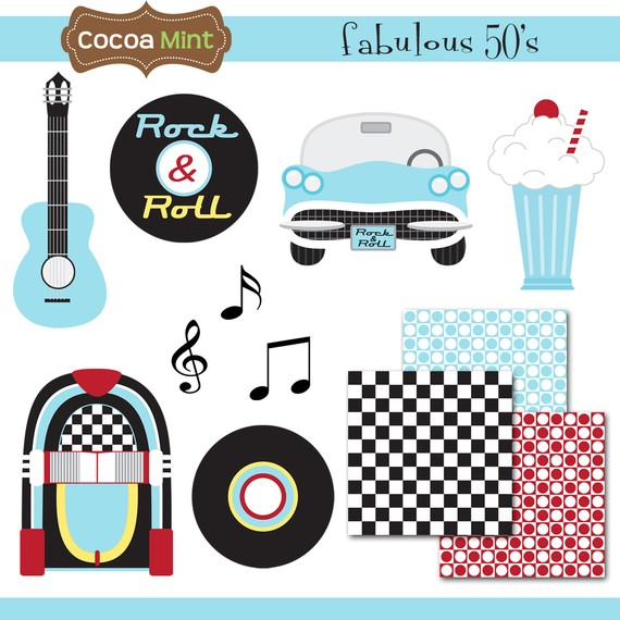 50 Fabulous Graphic: 50s Theme Clipart