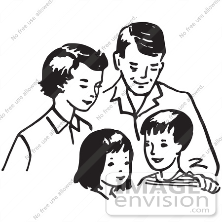 Happy Family Clipart Black And White Free Clipart Illustration Of