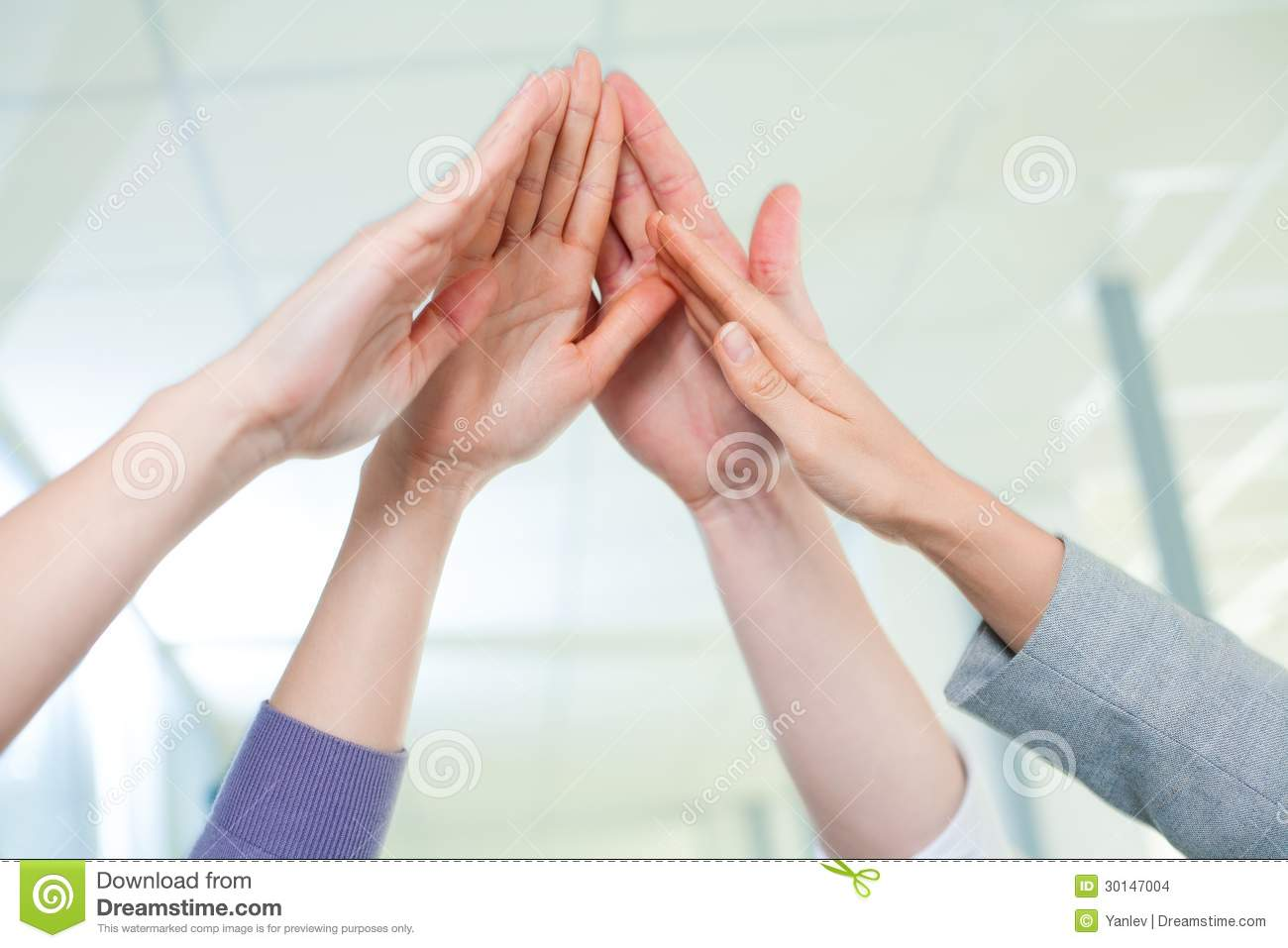 High Five Team Clipart Cropped Image Of Business People Hands Giving
