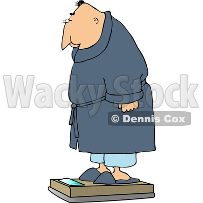 His Weight On A Standard Bathroom Scale Clipart   Dennis Cox  4667