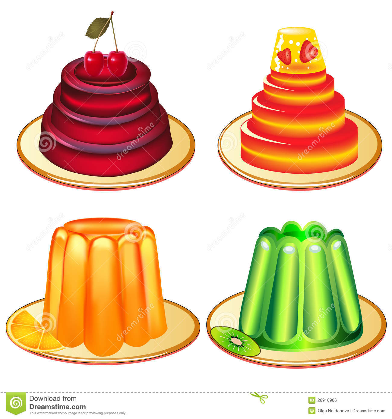 Jelly Clipart A Set Of Desserts Of Jelly On