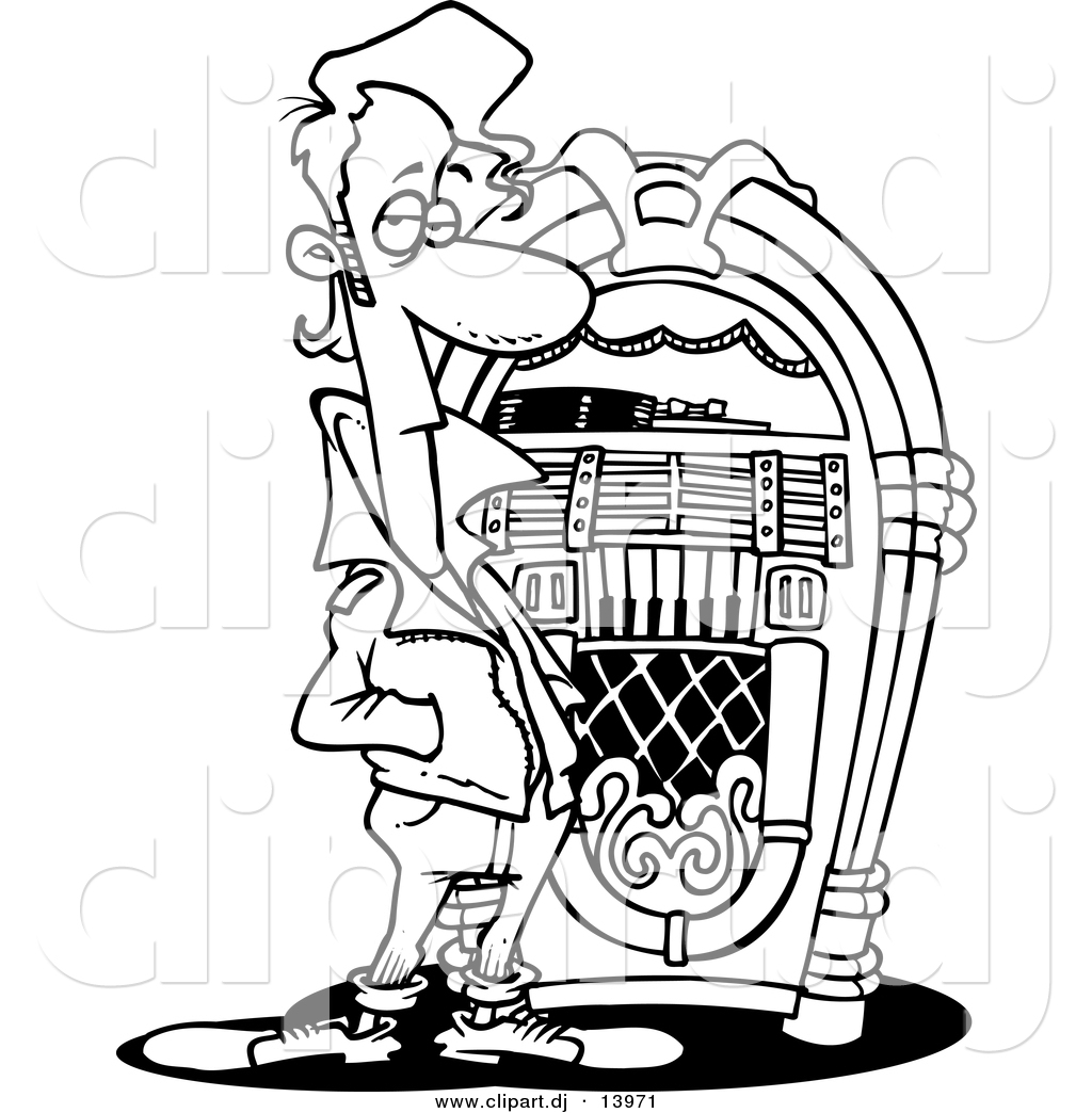 Jukebox Clipart Vector Of Cartoon Greaser By A Juke Box Coloring Page