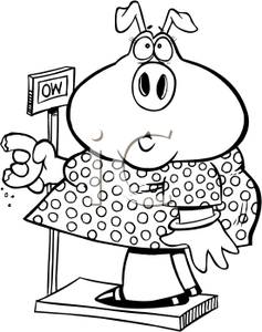 Page Of An Overweight Female Pig Hurting A Bathroom Scale   Clipart