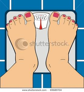 Women Standing On Bathroom Scale   Clipart