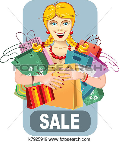 Clip Art   Happy Woman On Sale  Fotosearch   Search Clipart