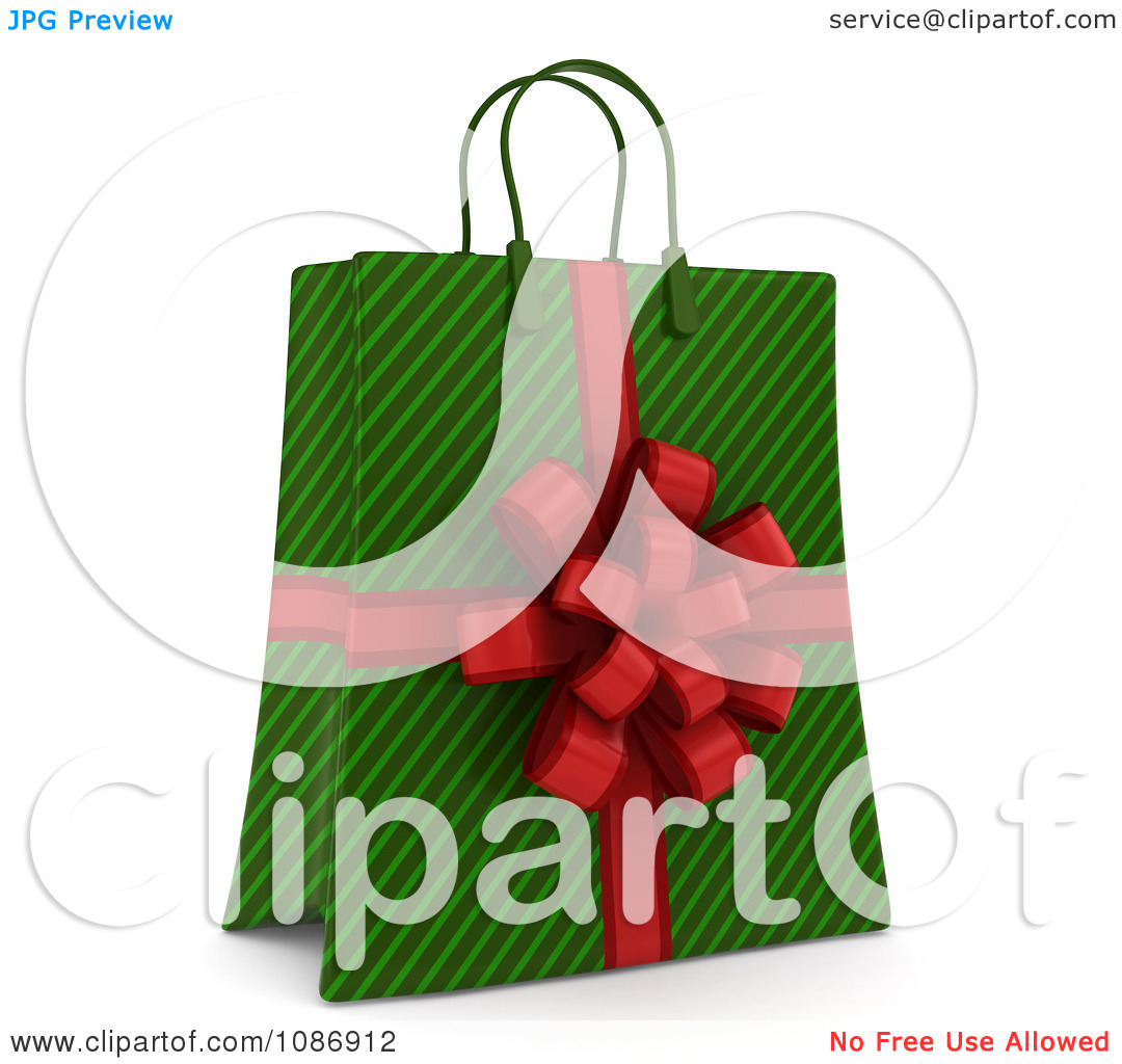 Clipart 3d Green Stripe Christmas Gift Or Shopping Bag With A Red Bow