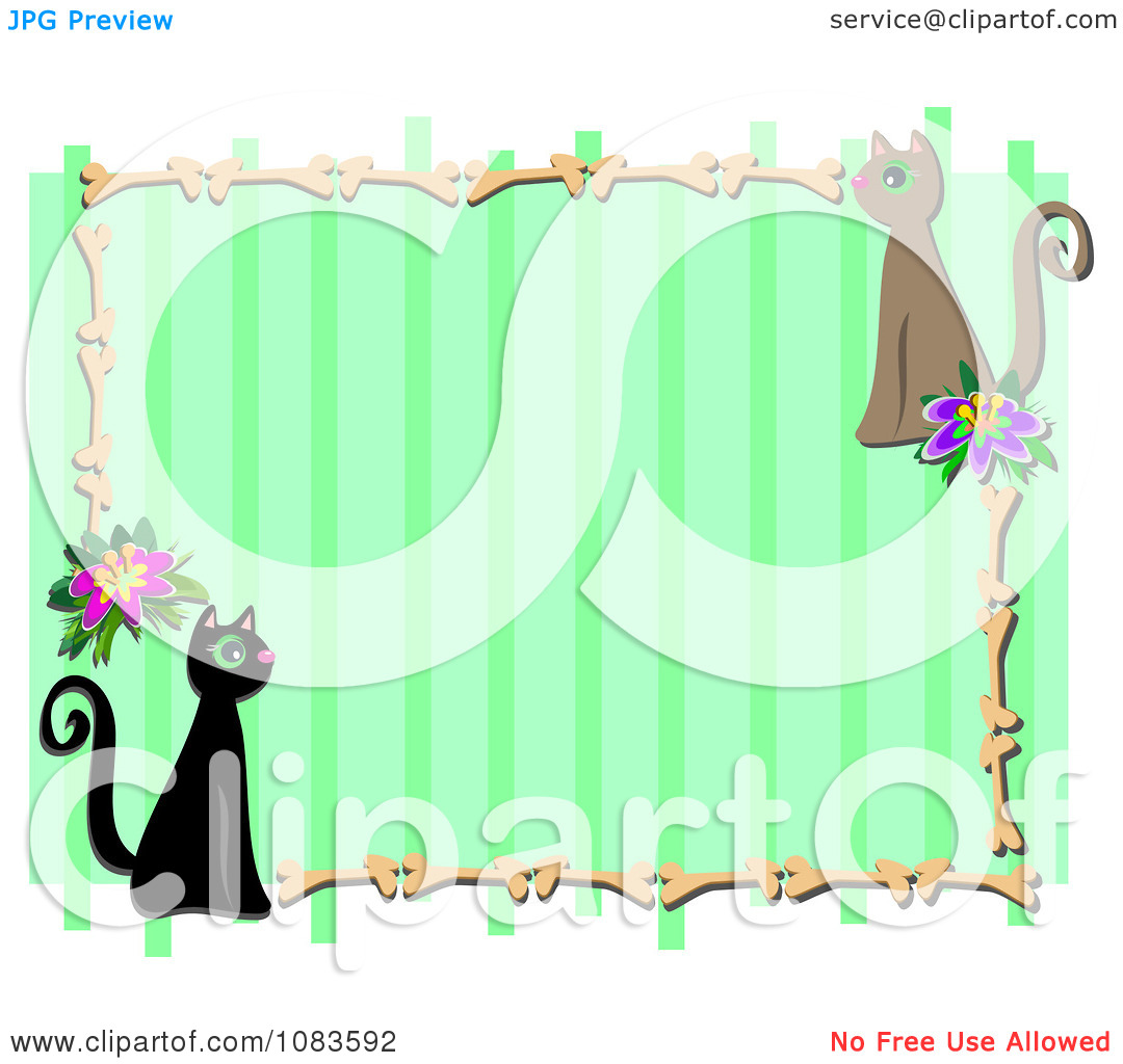 Clipart Green Stripe Frame With Cats And Bones   Royalty Free Vector