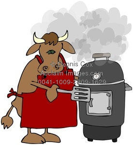 Clipart Image  Cow Cooking On A Smoker Grill   Acclaim Stock