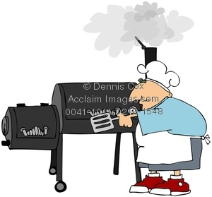 Clipart Image  Man Cooking On A Smoker Grill
