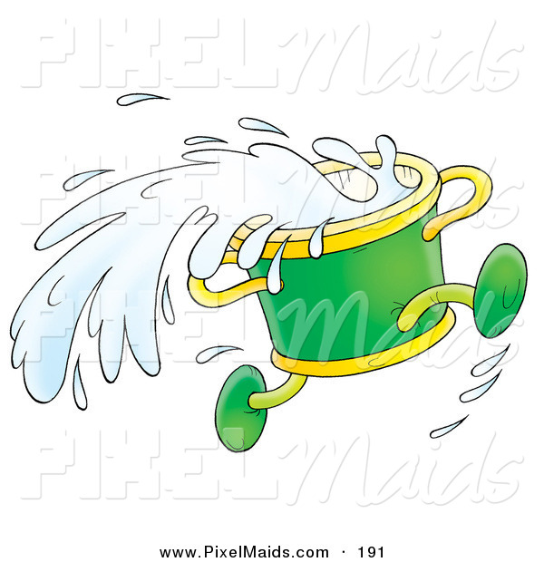 Clipart Of A Running Green Bucket Splashing Water On White By Alex