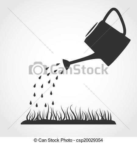 Clipart Vector Of Watering Can And Lawn   Dark Grey Watering Can