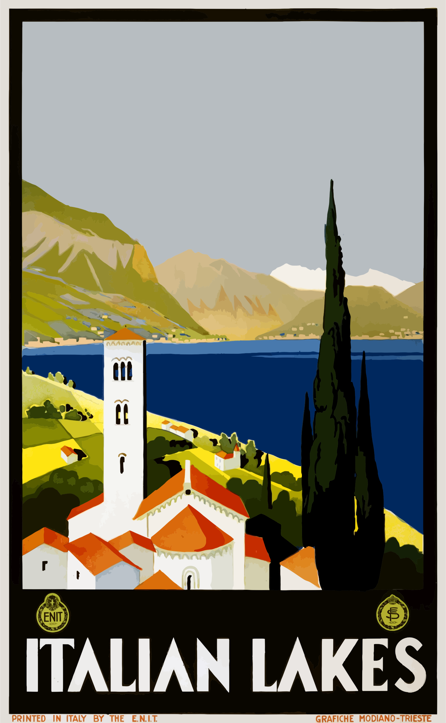 Clipart   Vintage Travel Poster Italian Lakes