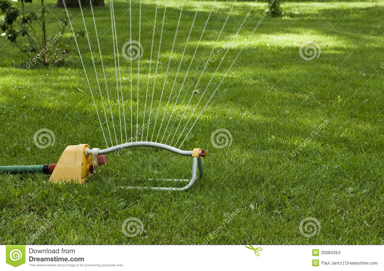 Closeup Of A Lawn Sprinkler Watering The Grass