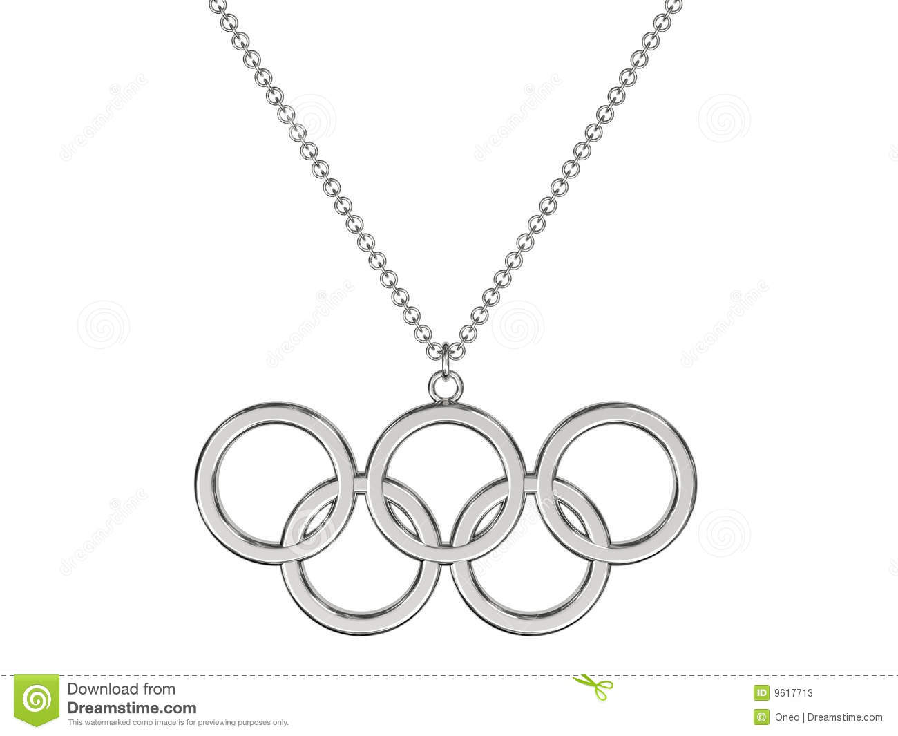 Platinum Or Silver Pendant In Shape Of Olympic Rings On Chain Isolated